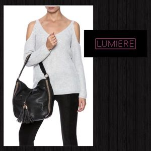 2FOR$30 LUMIERE Ribbed Cold Shoulder Sweater